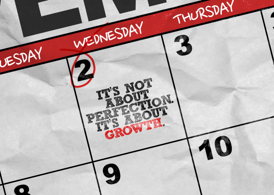 Concept image of a Calendar with the text: Is Not About Perfections Its About Growth